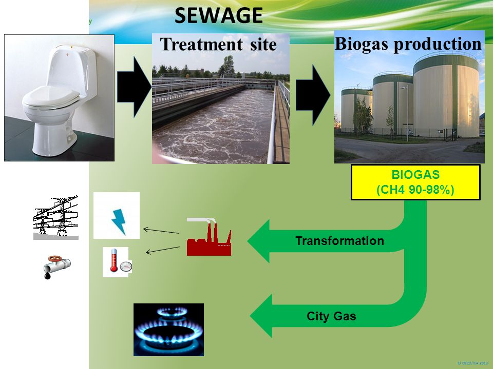 © OECD/IEA 2013 SEWAGE Treatment site Biogas production BIOGAS (CH4 90-98%) Transformation City Gas