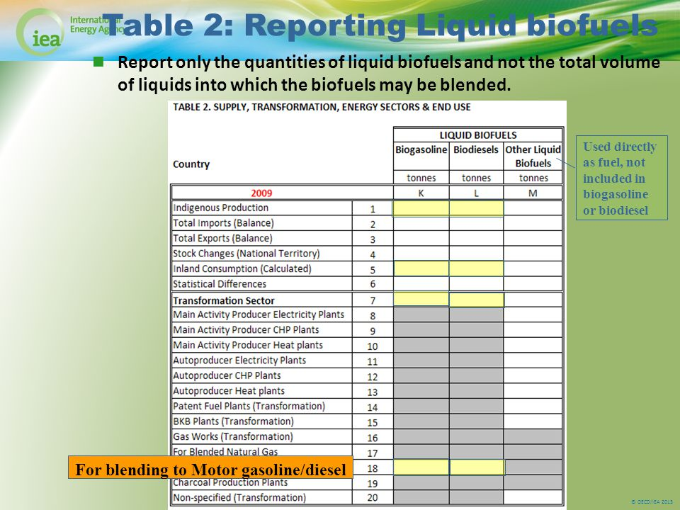 © OECD/IEA 2013 Table 2: Reporting Liquid biofuels Report only the quantities of liquid biofuels and not the total volume of liquids into which the biofuels may be blended.
