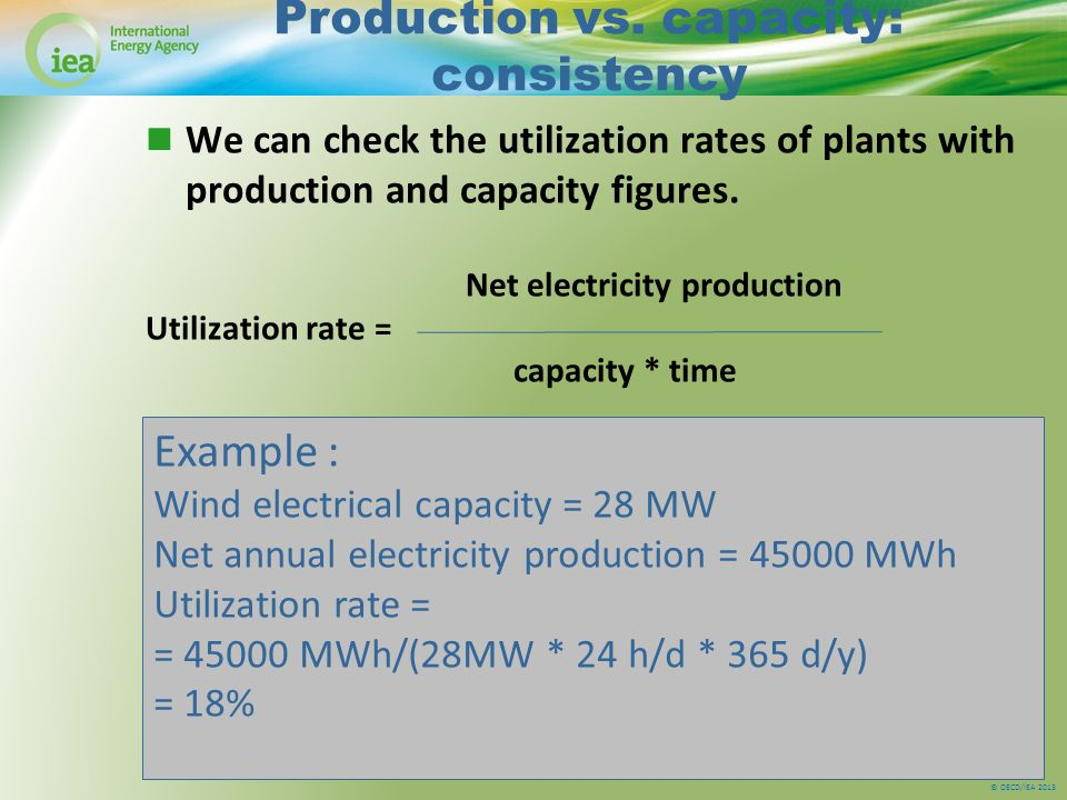© OECD/IEA 2013 Production vs. capacity: consistency We can check the utilization rates of plants with production and capacity figures. Net electricit