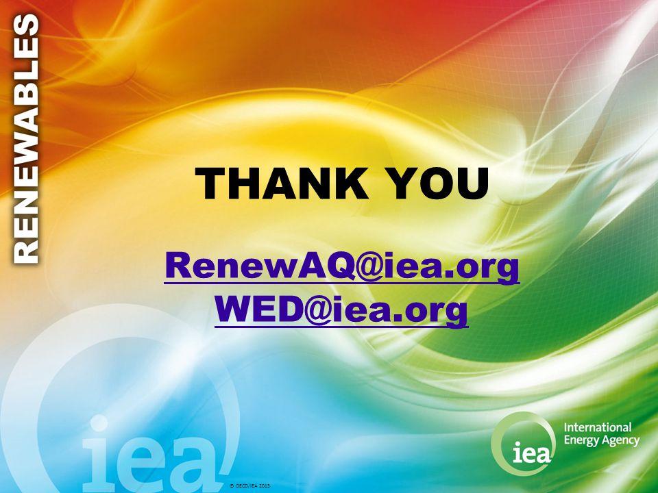 © OECD/IEA 2013 THANK YOU RenewAQ@iea.org WED@iea.org