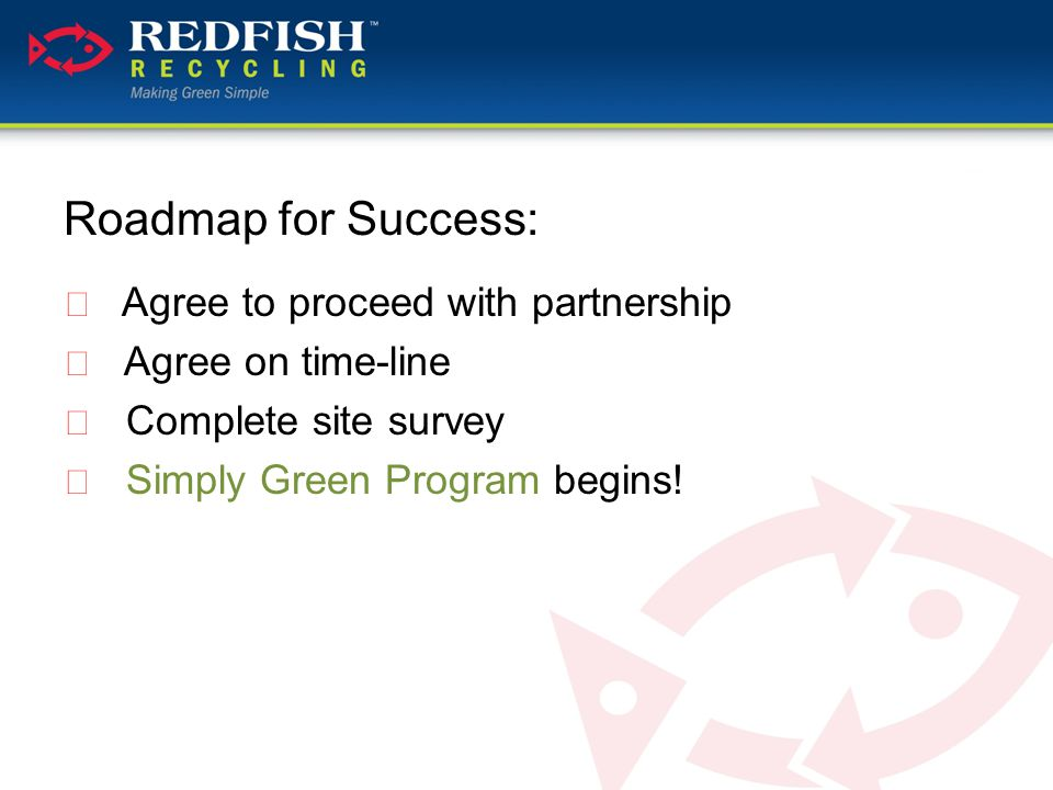 Roadmap for Success:  Agree to proceed with partnership  Agree on time-line  Complete site survey  Simply Green Program begins!
