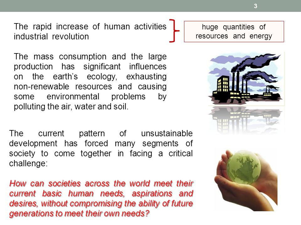 huge quantities of resources and energy The current pattern of unsustainable development has forced many segments of society to come together in facin