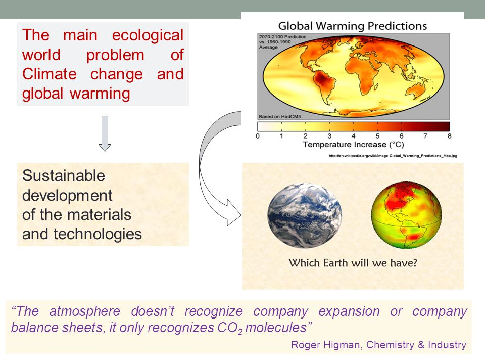 The main ecological world problem of Climate change and global warming Sustainable development of the materials and technologies The atmosphere doesn't recognize company expansion or company balance sheets, it only recognizes CO 2 molecules Roger Higman, Chemistry & Industry