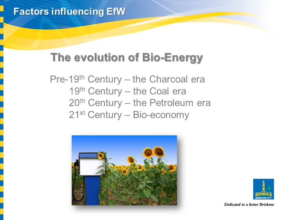 The evolution of Bio-Energy Pre-19 th Century – the Charcoal era 19 th Century – the Coal era 20 th Century – the Petroleum era Factors influencing Ef