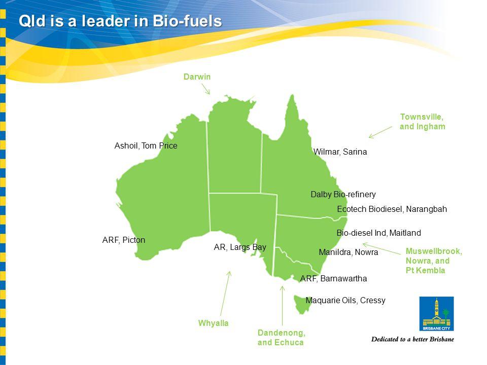 Qld is a leader in Bio-fuels Wilmar, Sarina Dalby Bio-refinery Ecotech Biodiesel, Narangbah Bio-diesel Ind, Maitland Manildra, Nowra ARF, Barnawartha