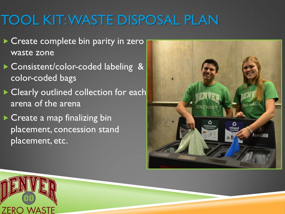TOOL KIT: WASTE DISPOSAL PLAN  Create complete bin parity in zero waste zone  Consistent/color-coded labeling & color-coded bags  Clearly outlined collection for each arena of the arena  Create a map finalizing bin placement, concession stand placement, etc.