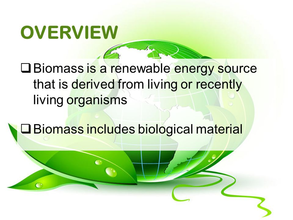 OVERVIEW  Biomass is a renewable energy source that is derived from living or recently living organisms  Biomass includes biological material
