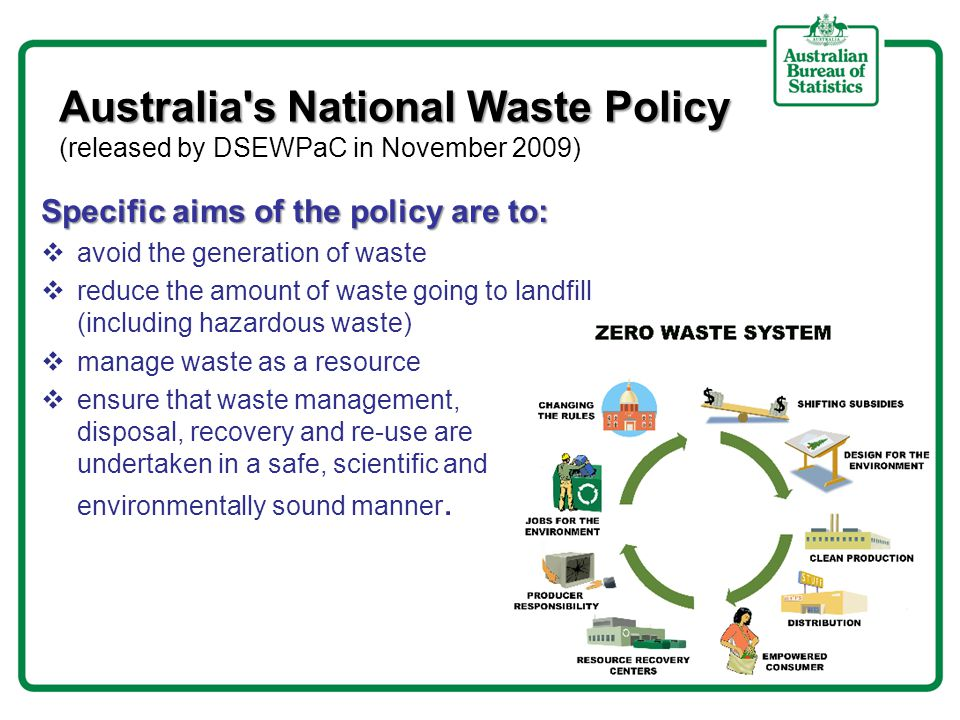 Waste Account Australia, Experimental Estimates (WAAEE) part of a set of integrated environmental– economic accounts using the SEEA framework AIM: to contribute to one of the six key directions of Australia's National Waste Policy by providing the evidence through meaningful, accurate and current national waste and resource recovery data and information, in order to measure progress and educate and inform the behaviour and the choices of the community.