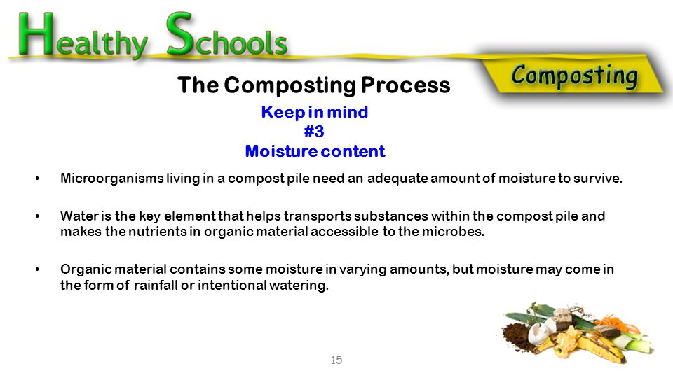 Microorganisms living in a compost pile need an adequate amount of moisture to survive. Water is the key element that helps transports substances with