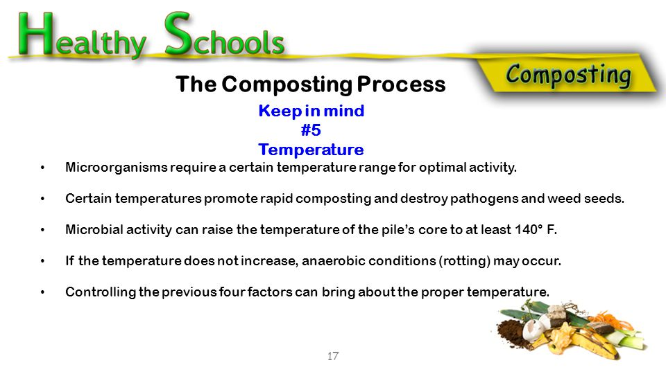 Microorganisms require a certain temperature range for optimal activity. Certain temperatures promote rapid composting and destroy pathogens and weed