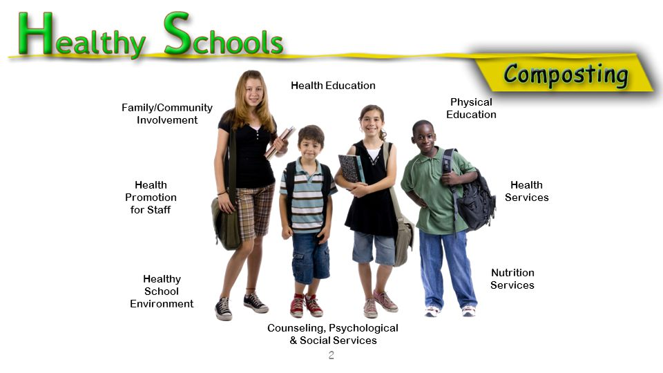 2 Family/Community Involvement Health Education Health Promotion for Staff Healthy School Environment Health Services Physical Education Counseling, Psychological & Social Services Nutrition Services