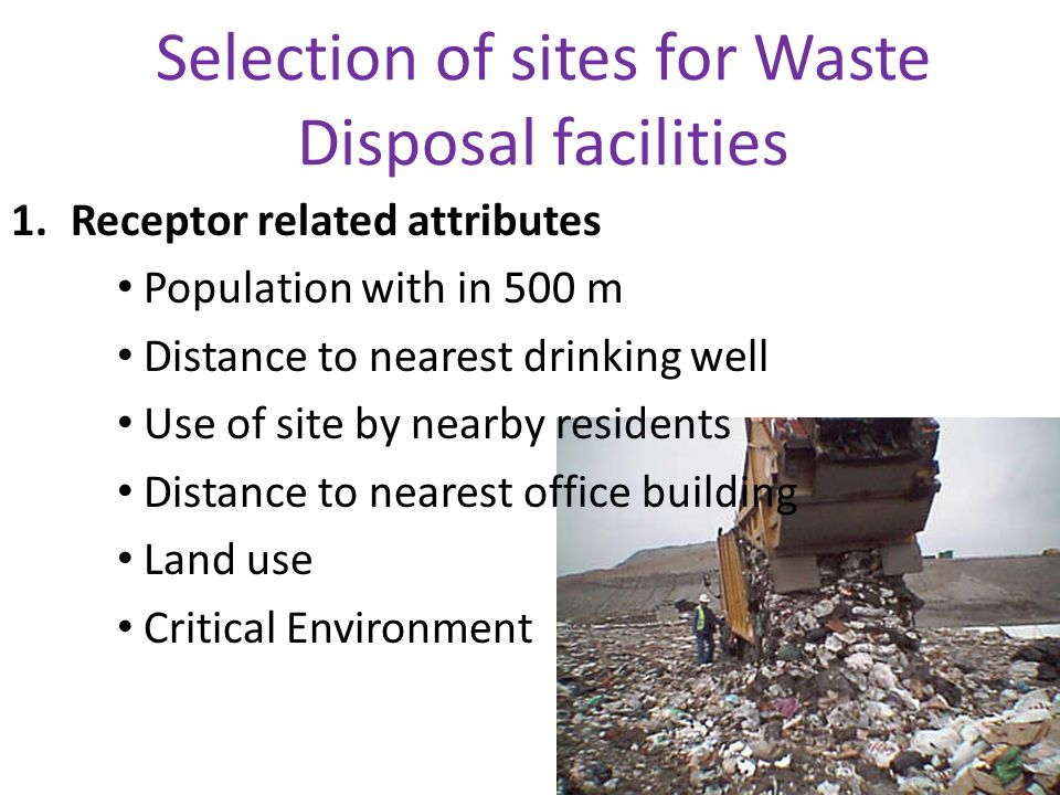 Hydrogeological aspects of selection of waste disposal sites CONDITIONS AT THE SITE PROVISION OF DATA FOR DESIGN AND MANAGEMENT OF WASTE DISPOSAL FACILITIES