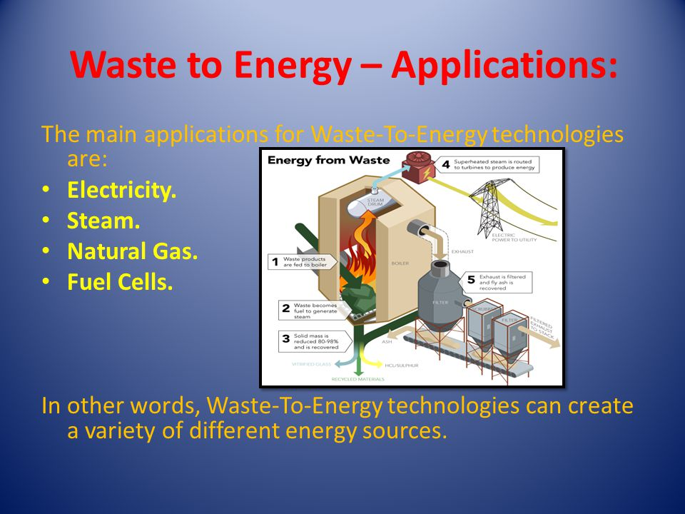 Waste to Energy – Applications: The main applications for Waste-To-Energy technologies are: Electricity.