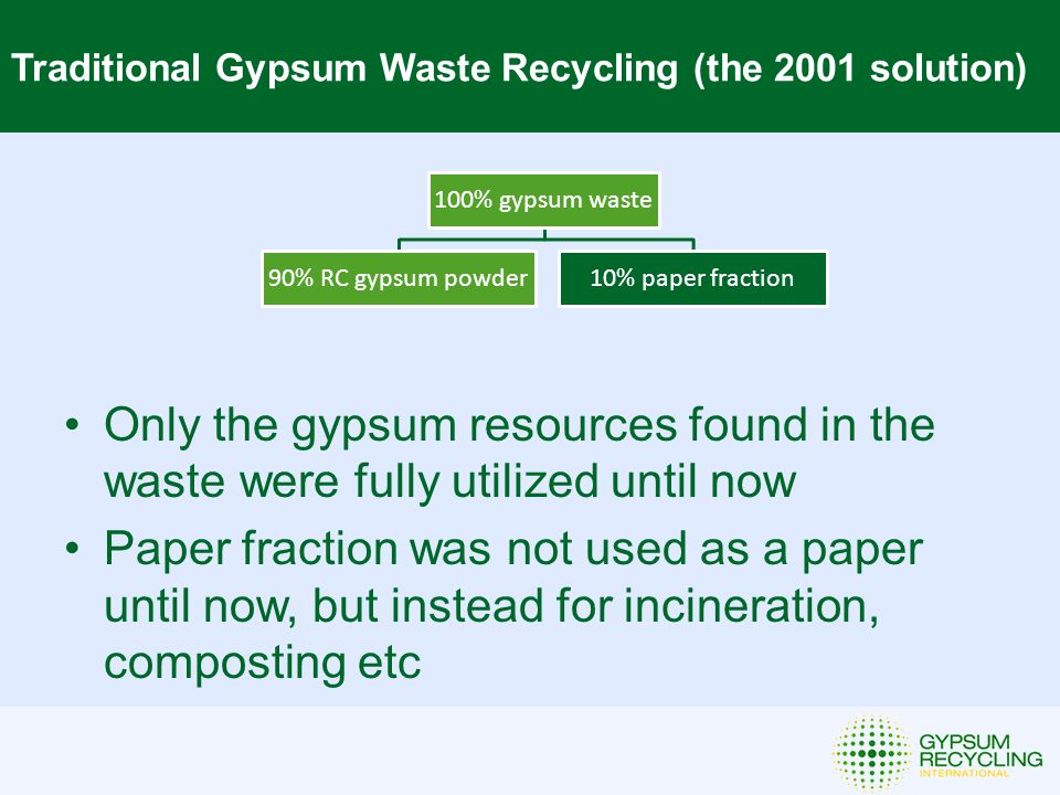 Traditional Gypsum Waste Recycling (the 2001 solution) 100% gypsum waste 90% RC gypsum powder10% paper fraction Only the gypsum resources found in the waste were fully utilized until now Paper fraction was not used as a paper until now, but instead for incineration, composting etc
