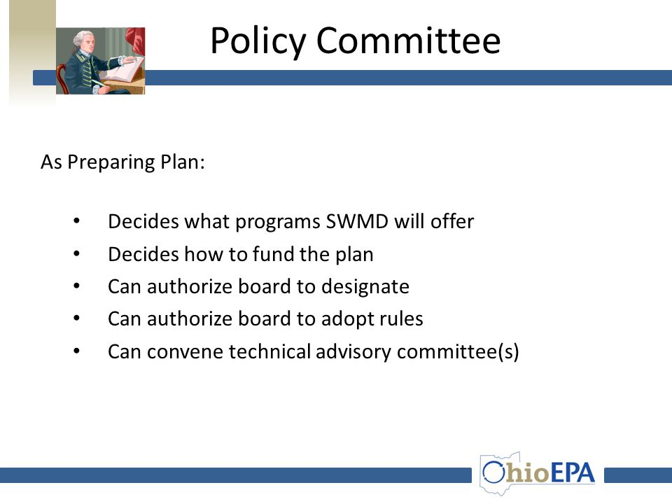 Powers Policy Committee Prepares plan Adopts plan Ratifies plan Annually reviews plan  Ratifies fees Board of Directors  Votes to ratify plan  Votes to ratify fees  Implements approved plan  Designates facilities (if authorized)  Hires Staff  Adopts and enforces rules (if authorized)  Establishes rates and charges  Contracts for services