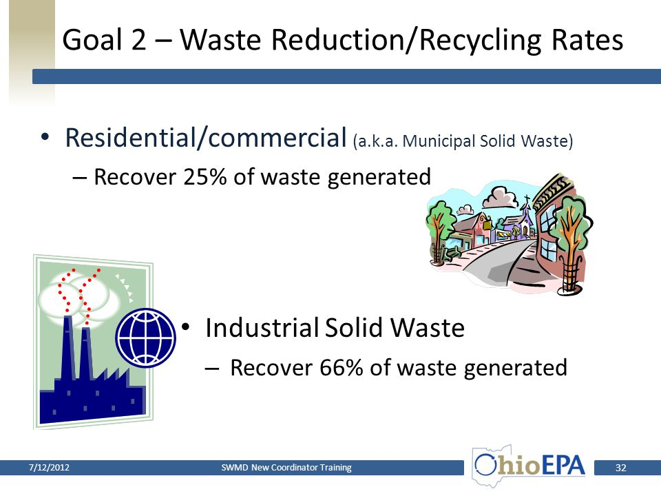 Goal 2 – Waste Reduction/Recycling Rates Measures diversion from landfills Is NOT same as a recycling rate Includes recycling, volume reduction, compo