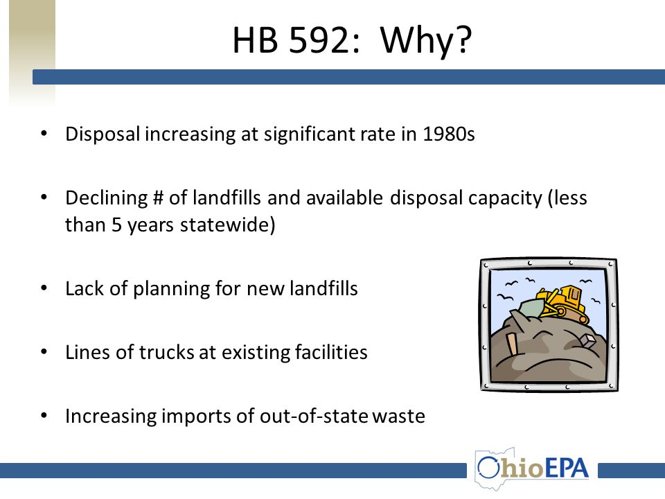 HB 592: What is it? Ohio's comprehensive solid waste law Passed in 1988 Addresses many areas of solid waste including: – landfill permitting, – siting
