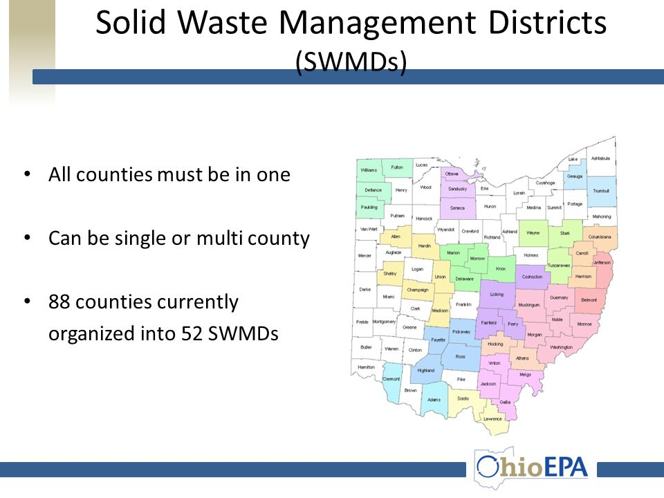SWAC: Membership – Waste Industry – Recycling Industry – Industrial Generators – Environmental Groups – Public Representative – Ohio EPA, ODOD – Senate, House Member – Municipalities, Townships, Counties – Solid Waste Management Districts – Health Departments