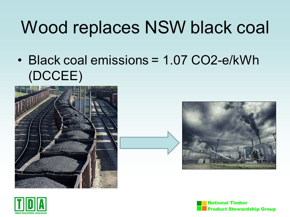 Wood replaces NSW black coal Black coal emissions = 1.07 CO2-e/kWh (DCCEE)