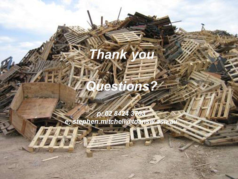 Thank you Questions p: 02 8424 3703 e: stephen.mitchell@tdansw.asn.au