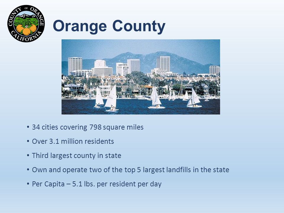 Orange County 34 cities covering 798 square miles Over 3.1 million residents Third largest county in state Own and operate two of the top 5 largest landfills in the state Per Capita – 5.1 lbs.