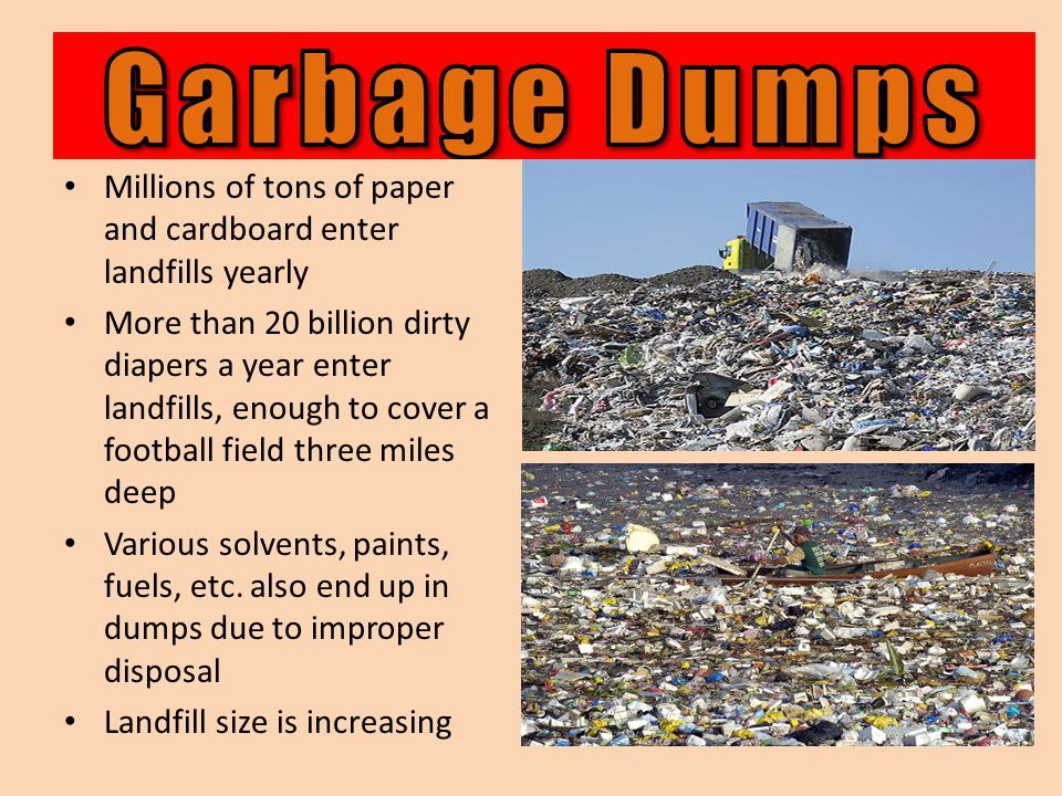 Millions of tons of paper and cardboard enter landfills yearly More than 20 billion dirty diapers a year enter landfills, enough to cover a football field three miles deep Various solvents, paints, fuels, etc.