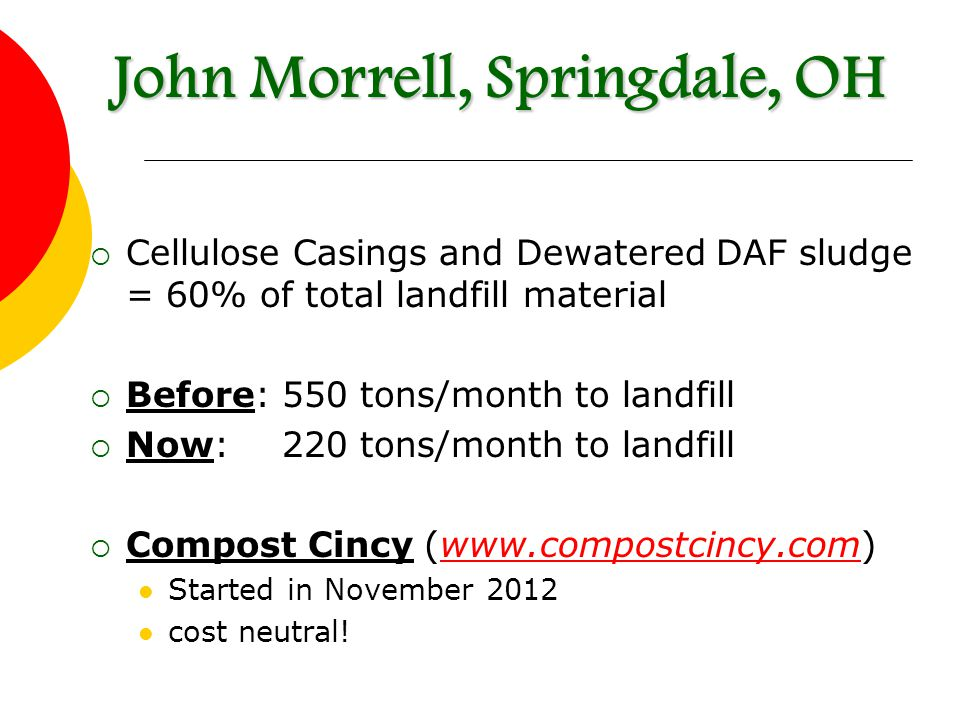  Cellulose Casings and Dewatered DAF sludge = 60% of total landfill material  Before: 550 tons/month to landfill  Now:220 tons/month to landfill  Compost Cincy (www.compostcincy.com)www.compostcincy.com Started in November 2012 cost neutral.