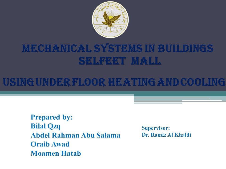 MECHANICAL SYSTEMS IN BUILDINGS selfeEt mall selfeEt mall Prepared by: Bilal Qzq Abdel Rahman Abu Salama Oraib Awad Moamen Hatab Supervisor: Dr.