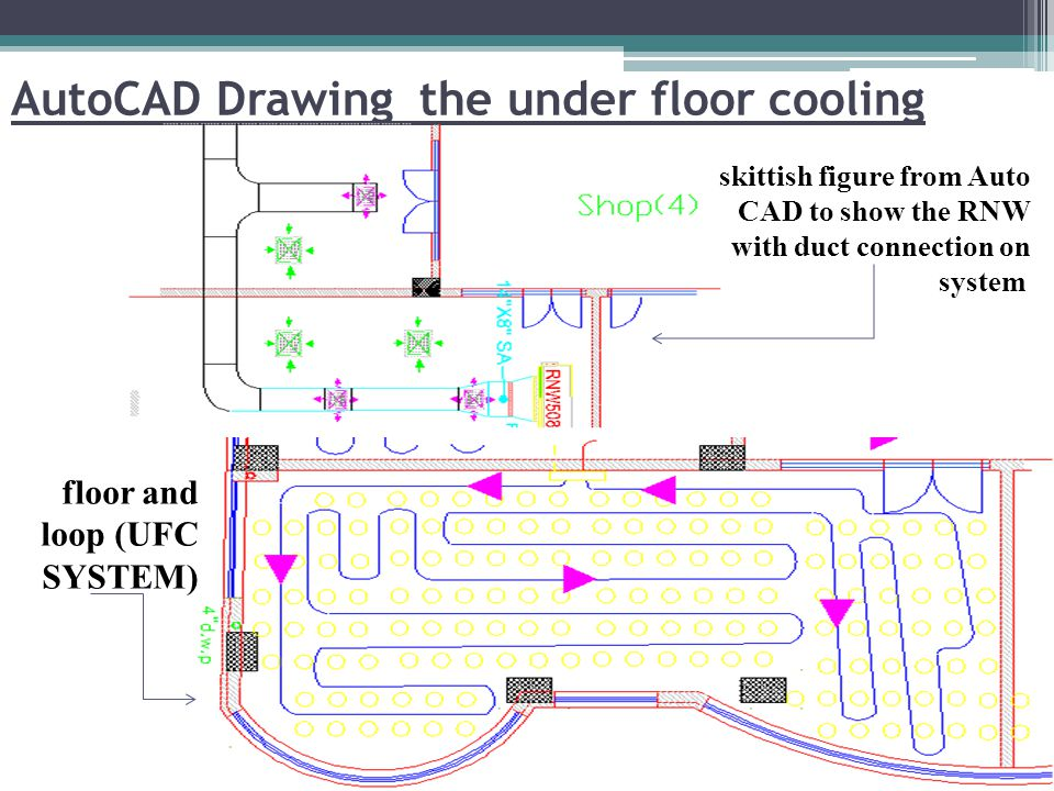 AutoCAD Drawing the under floor cooling skittish figure from Auto CAD to show the RNW with duct connection on system floor and loop (UFC SYSTEM)