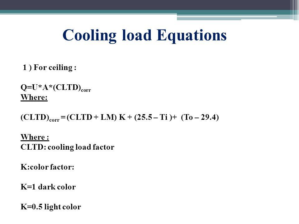 Cooling load Equations 1 ) For ceiling : Q=U*A*(CLTD) corr Where: (CLTD) corr = (CLTD + LM) K + (25.5 – Ti )+ (To – 29.4) Where : CLTD: cooling load factor K:color factor: K=1 dark color K=0.5 light color