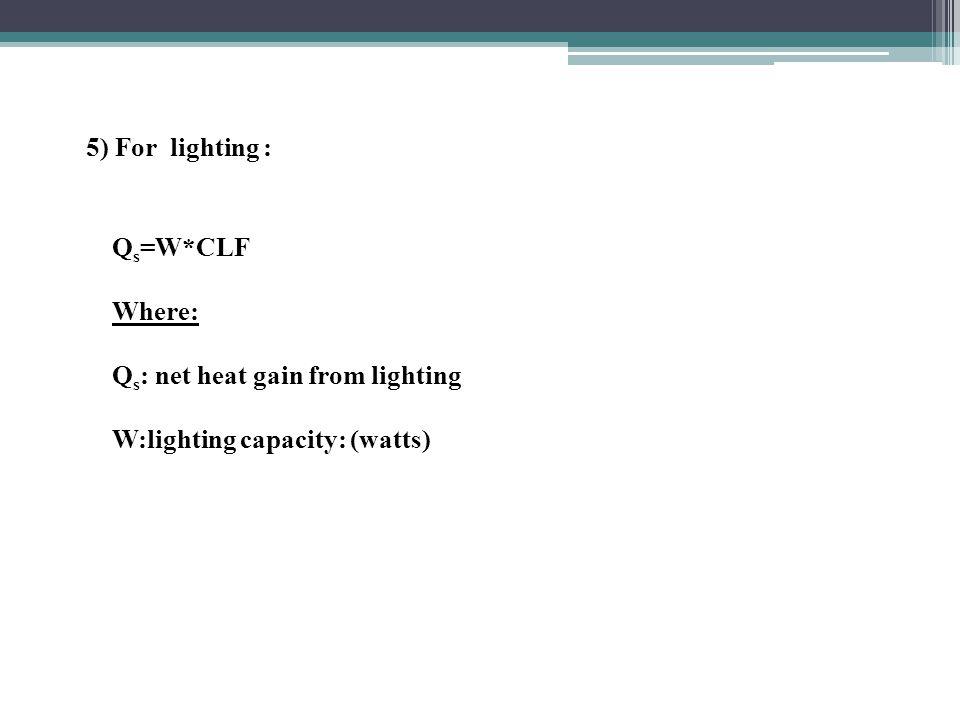 5) For lighting : Q s =W*CLF Where: Q s : net heat gain from lighting W:lighting capacity: (watts)