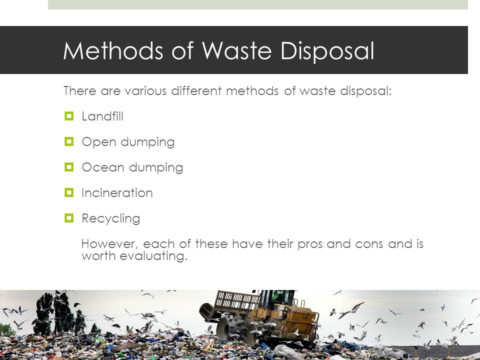Methods of Waste Disposal There are various different methods of waste disposal:  Landfill  Open dumping  Ocean dumping  Incineration  Recycling However, each of these have their pros and cons and is worth evaluating.