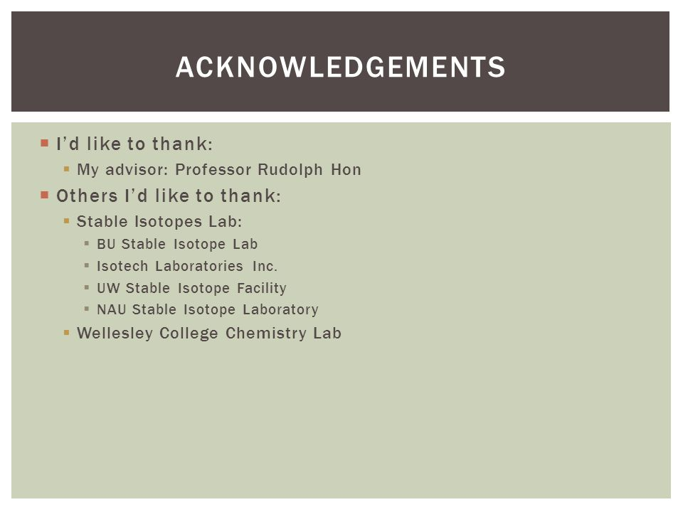  I'd like to thank:  My advisor: Professor Rudolph Hon  Others I'd like to thank:  Stable Isotopes Lab:  BU Stable Isotope Lab  Isotech Laboratories Inc.