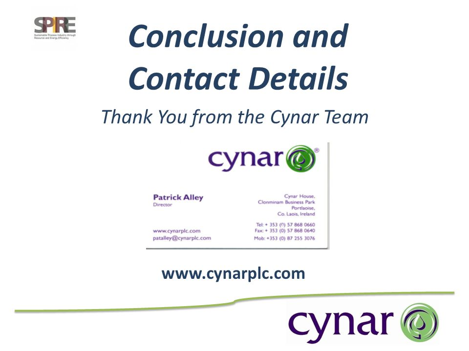 Thank You from the Cynar Team Conclusion and Contact Details www.cynarplc.com