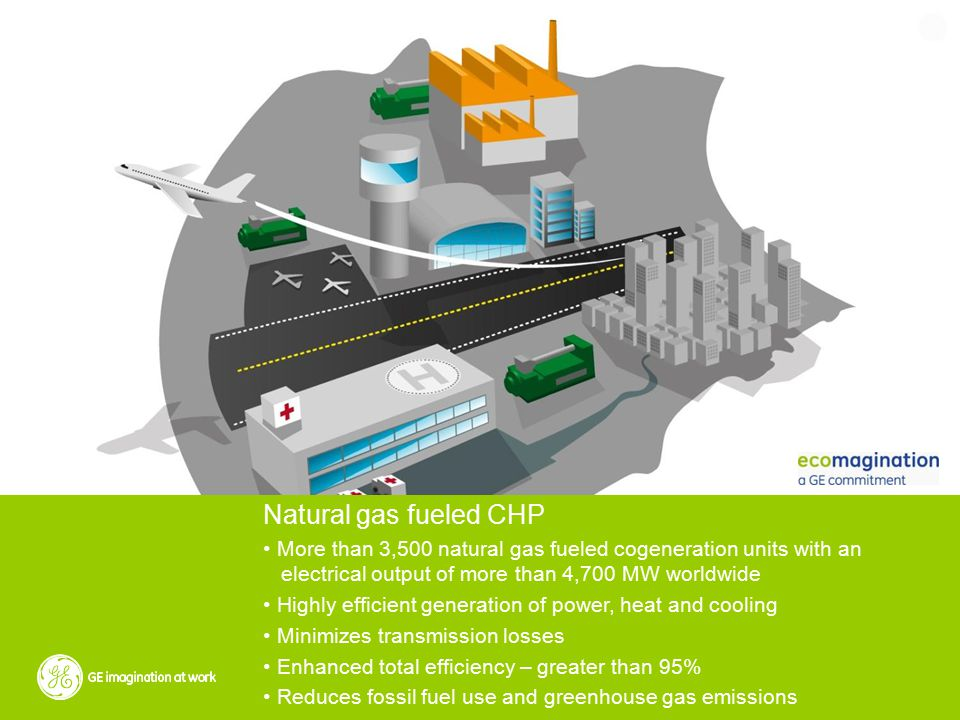 Natural gas fueled CHP More than 3,500 natural gas fueled cogeneration units with an electrical output of more than 4,700 MW worldwide Highly efficient generation of power, heat and cooling Minimizes transmission losses Enhanced total efficiency – greater than 95% Reduces fossil fuel use and greenhouse gas emissions
