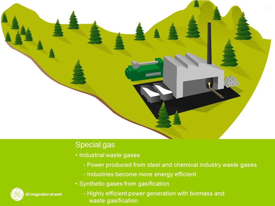 Special gas Industrial waste gases - Power produced from steel and chemical industry waste gases - Industries become more energy efficient Synthetic gases from gasification - Highly efficient power generation with biomass and waste gasification