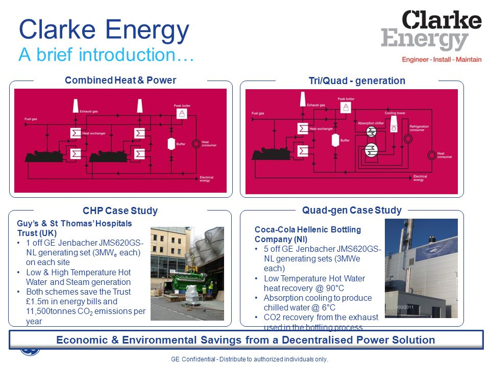 Clarke Energy A brief introduction… Economic & Environmental Savings from a Decentralised Power Solution Combined Heat & Power Tri/Quad - generation CHP Case Study Quad-gen Case Study Guy's & St Thomas' Hospitals Trust (UK) 1 off GE Jenbacher JMS620GS- NL generating set (3MW e each) on each site Low & High Temperature Hot Water and Steam generation Both schemes save the Trust £1.5m in energy bills and 11,500tonnes CO 2 emissions per year GE Confidential - Distribute to authorized individuals only.