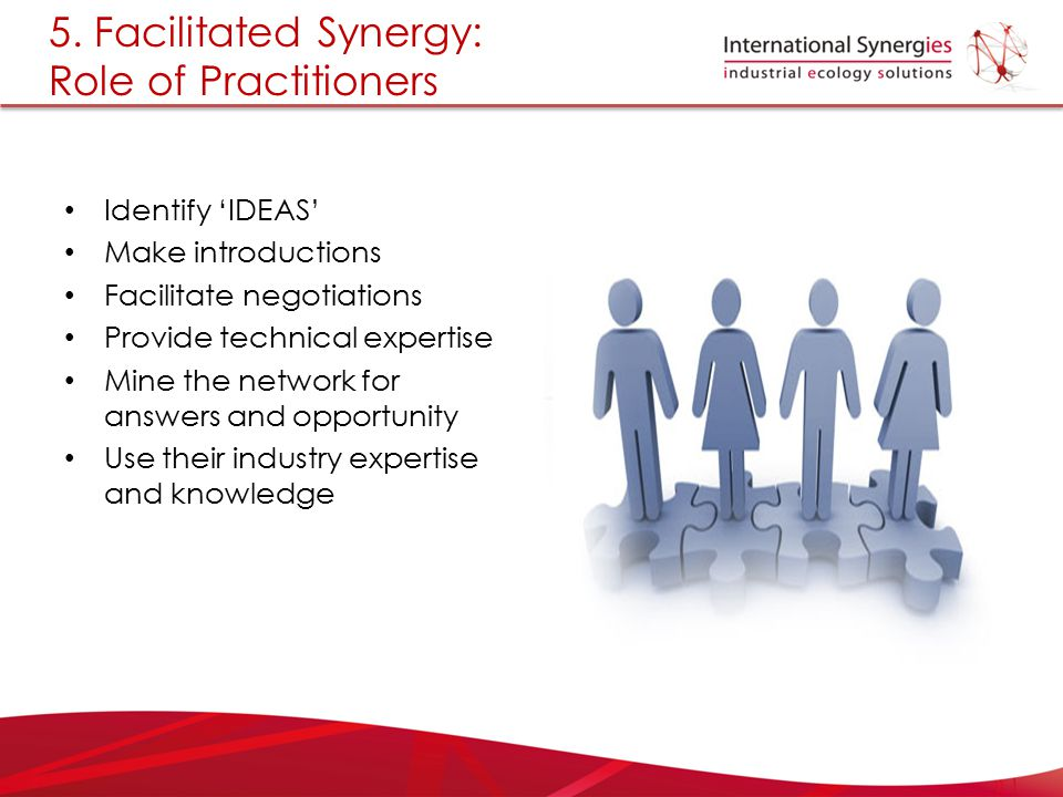 5. Facilitated Synergy: Role of Practitioners Identify 'IDEAS' Make introductions Facilitate negotiations Provide technical expertise Mine the network