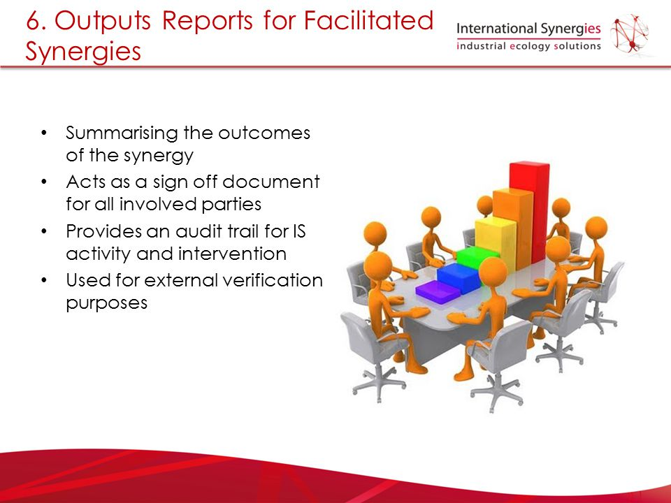 6. Outputs Reports for Facilitated Synergies Summarising the outcomes of the synergy Acts as a sign off document for all involved parties Provides an