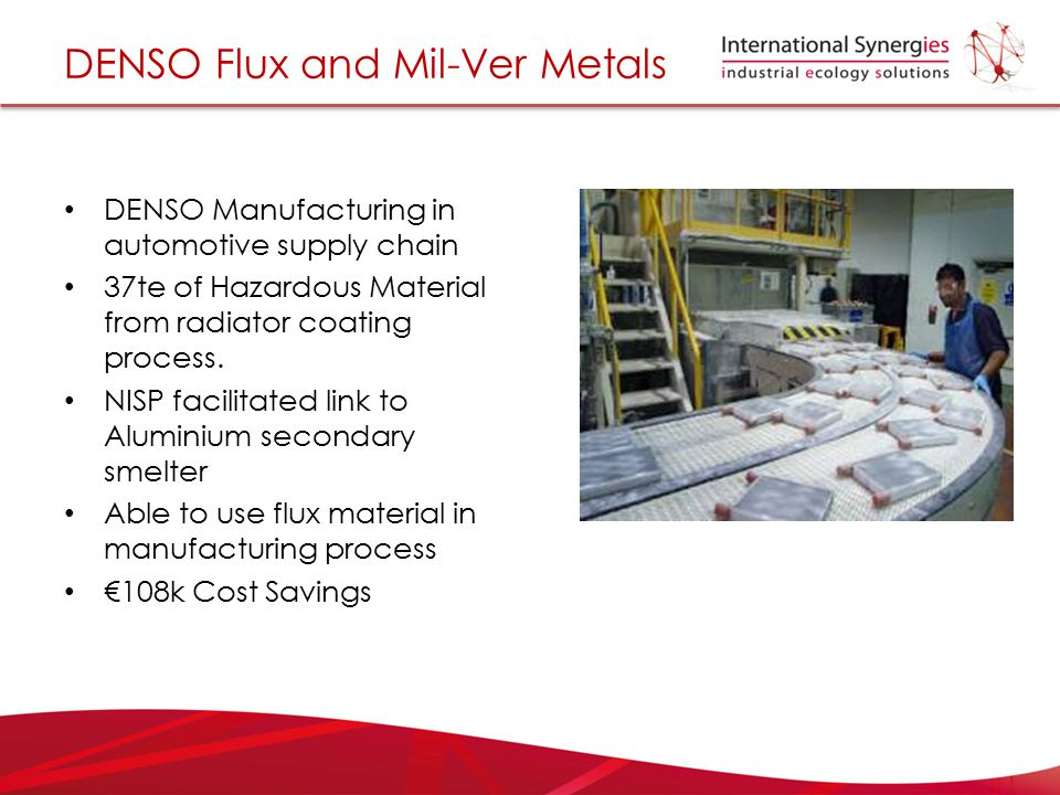 DENSO Flux and Mil-Ver Metals DENSO Manufacturing in automotive supply chain 37te of Hazardous Material from radiator coating process. NISP facilitate