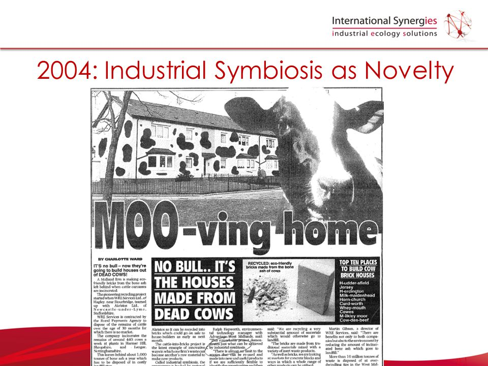 2004: Industrial Symbiosis as Novelty