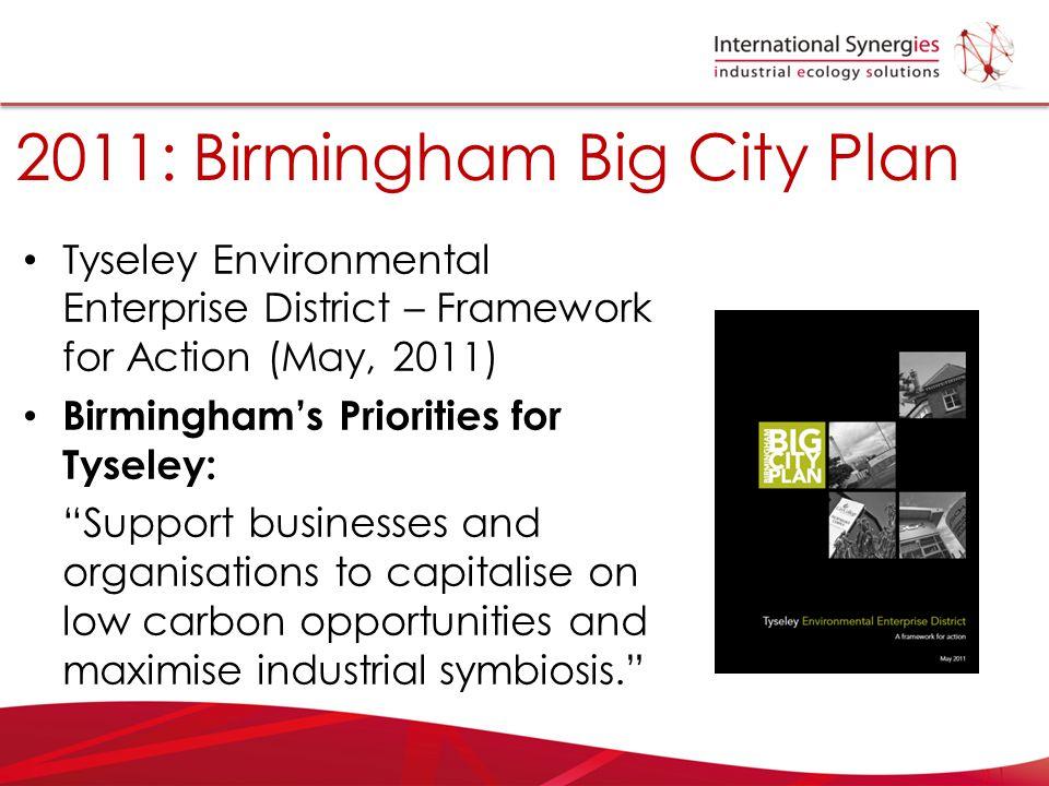 "2011: Birmingham Big City Plan Tyseley Environmental Enterprise District – Framework for Action (May, 2011) Birmingham's Priorities for Tyseley: ""Supp"