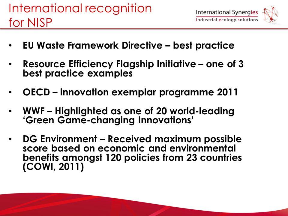 International recognition for NISP EU Waste Framework Directive – best practice Resource Efficiency Flagship Initiative – one of 3 best practice examp