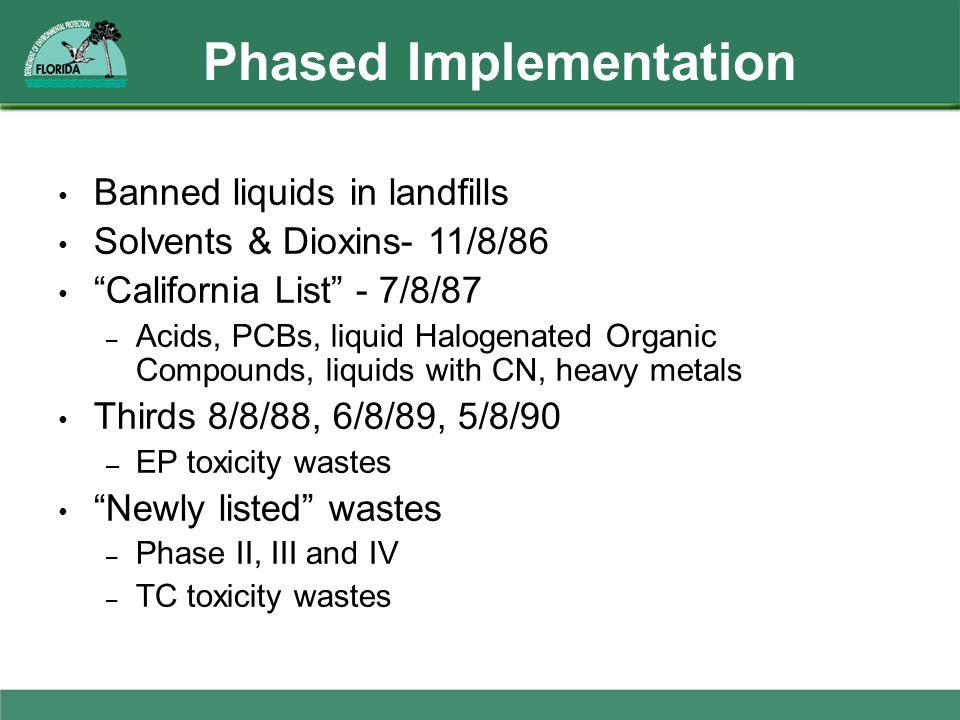 "Phased Implementation Banned liquids in landfills Solvents & Dioxins- 11/8/86 ""California List"" - 7/8/87 – Acids, PCBs, liquid Halogenated Organic Com"