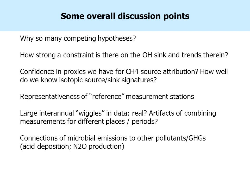 Some overall discussion points Why so many competing hypotheses? How strong a constraint is there on the OH sink and trends therein? Confidence in pro