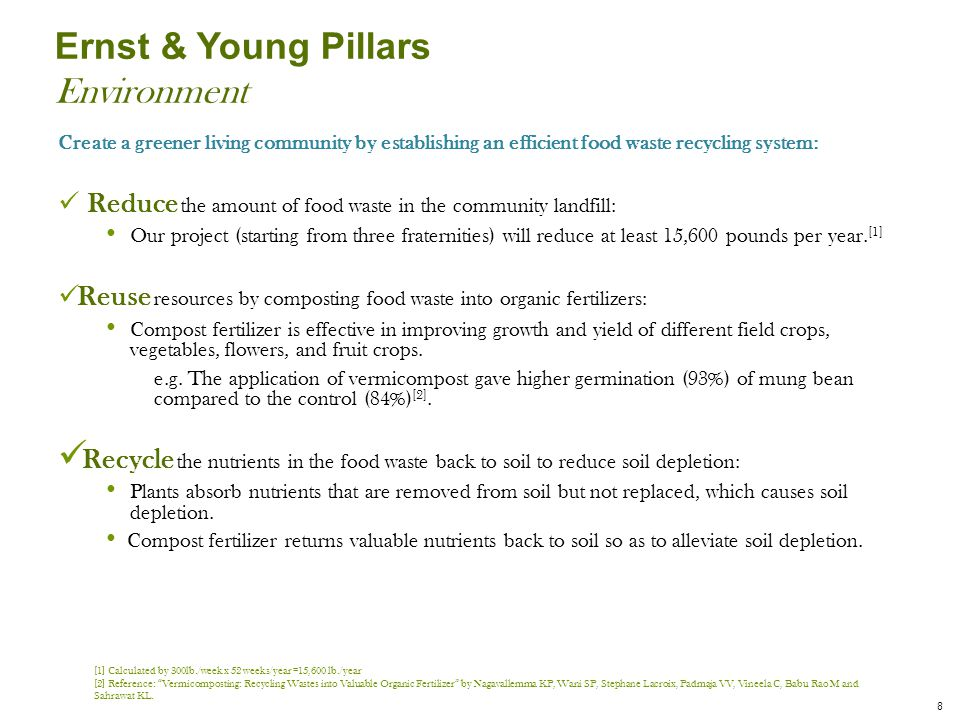 Ernst & Young Pillars Environment Create a greener living community by establishing an efficient food waste recycling system: Reduce the amount of food waste in the community landfill: Our project (starting from three fraternities) will reduce at least 15,600 pounds per year.