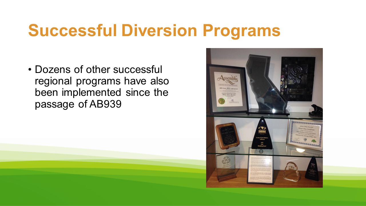 Successful Diversion Programs Dozens of other successful regional programs have also been implemented since the passage of AB939