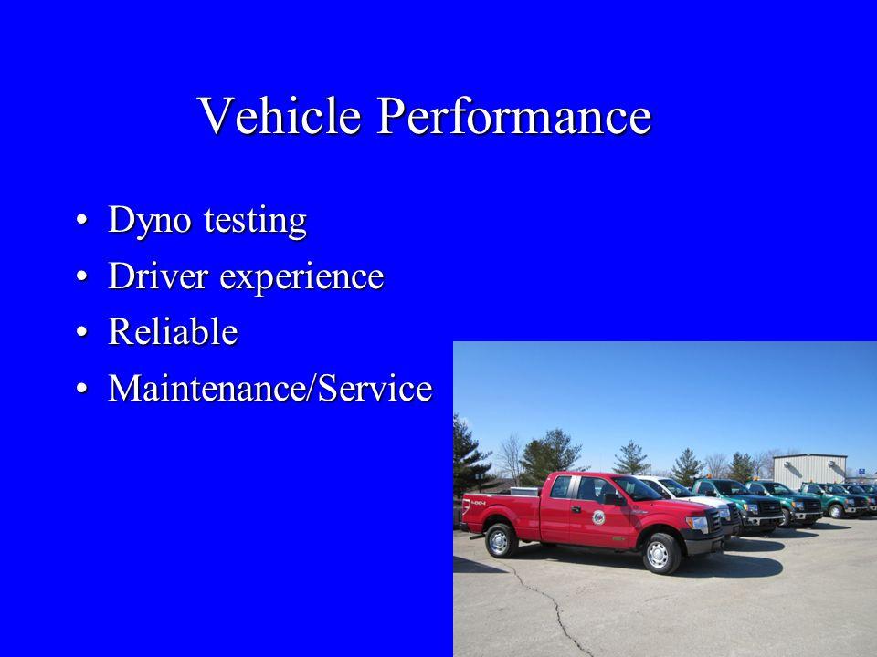 Vehicle Performance Dyno testingDyno testing Driver experienceDriver experience ReliableReliable Maintenance/ServiceMaintenance/Service