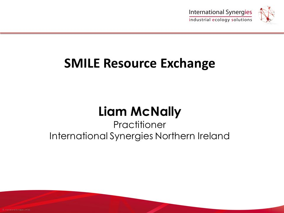 © International Synergies Limited SMILE Resource Exchange Liam McNally Practitioner International Synergies Northern Ireland