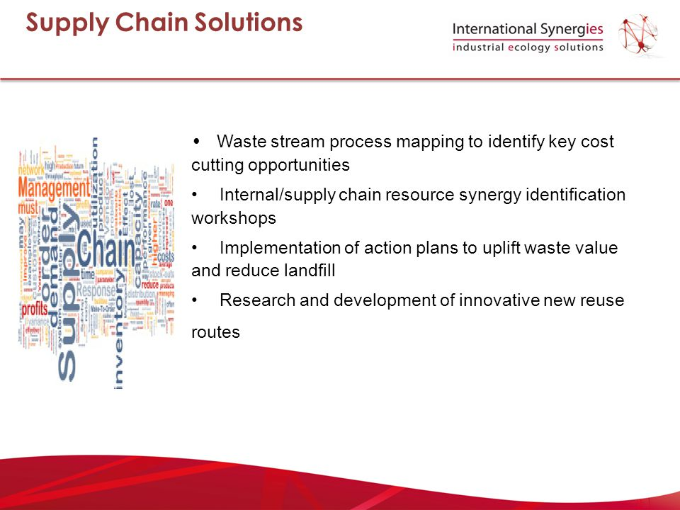 Waste stream process mapping to identify key cost cutting opportunities Internal/supply chain resource synergy identification workshops Implementation of action plans to uplift waste value and reduce landfill Research and development of innovative new reuse routes Supply Chain Solutions